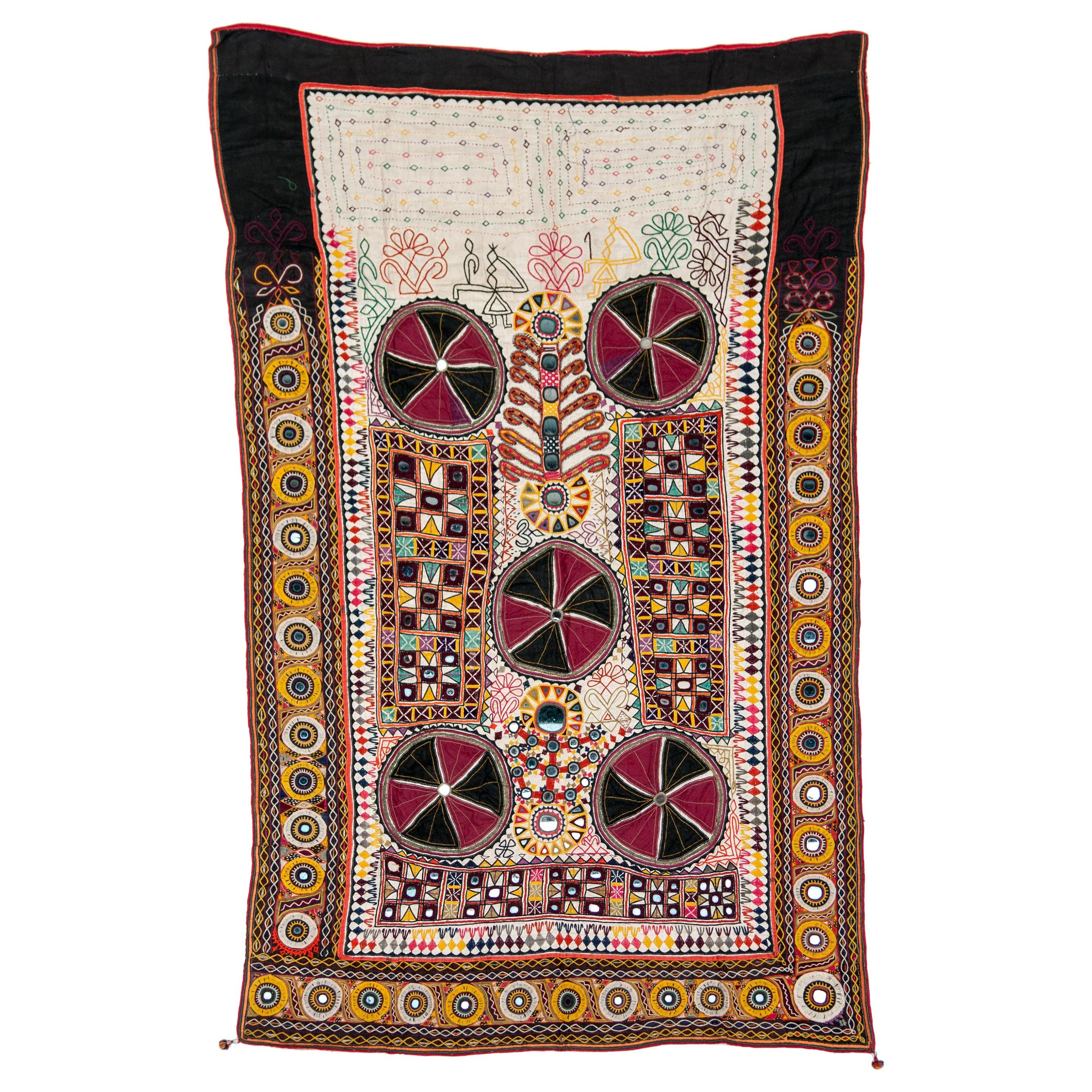 Vintage Rabari Embroidered Quilt Cover, Gujarat, India, Mid-20th Century