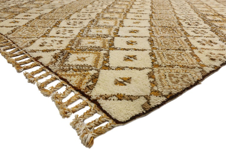 Hand-Knotted Vintage Rabat Moroccan Large Area Rug with MCM and Tribal Style For Sale