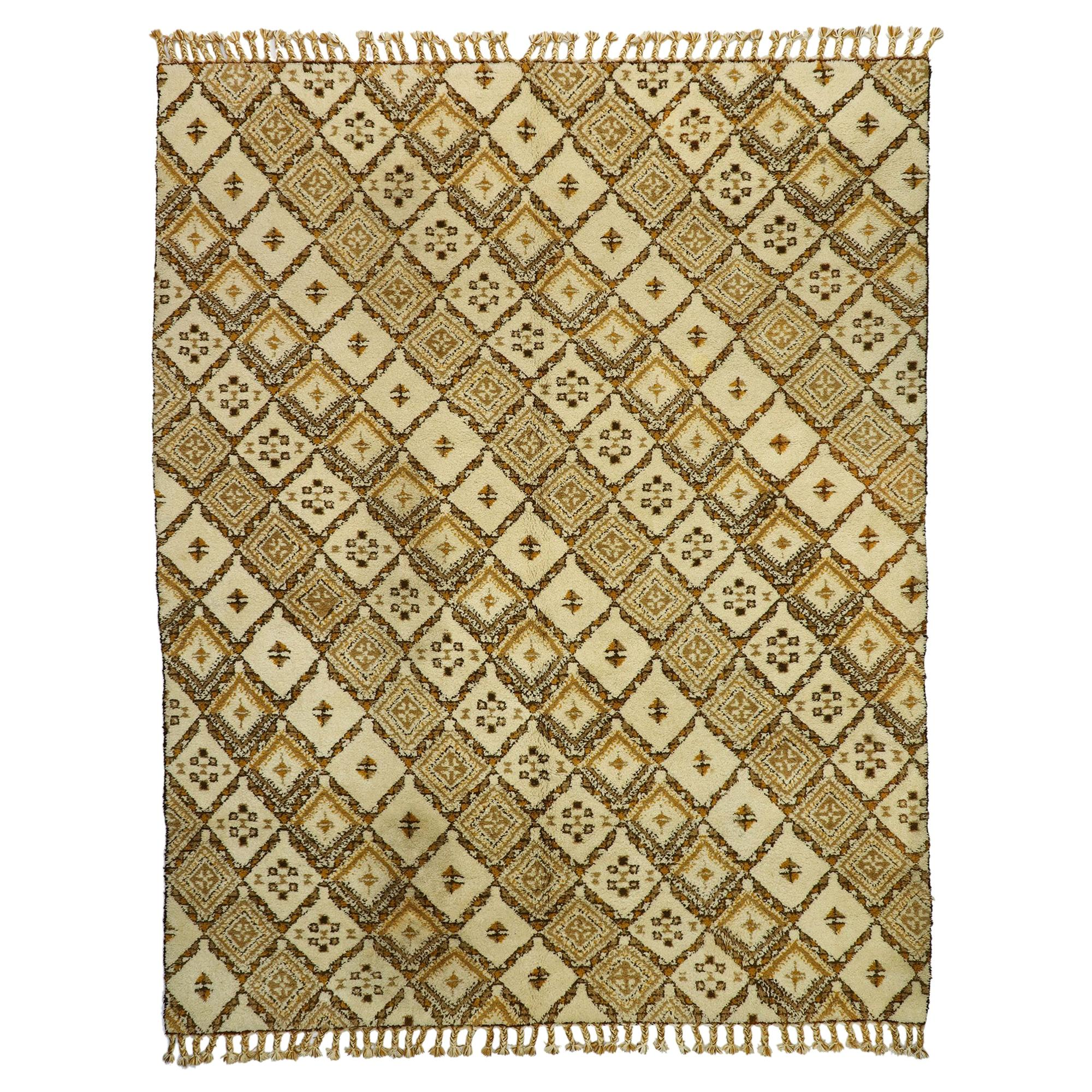Vintage Rabat Moroccan Large Area Rug with MCM and Tribal Style