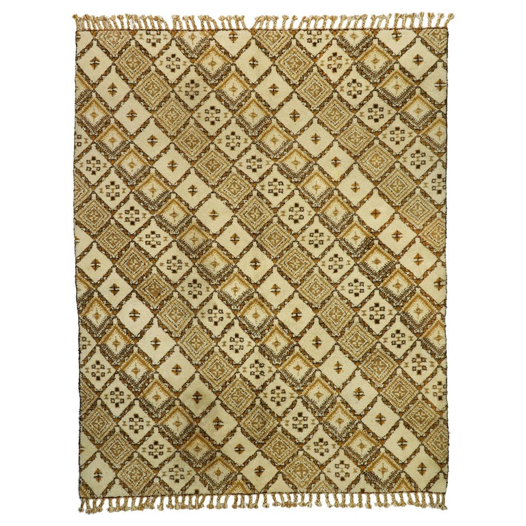 Vintage Rabat Moroccan Large Area Rug with MCM and Tribal Style For Sale