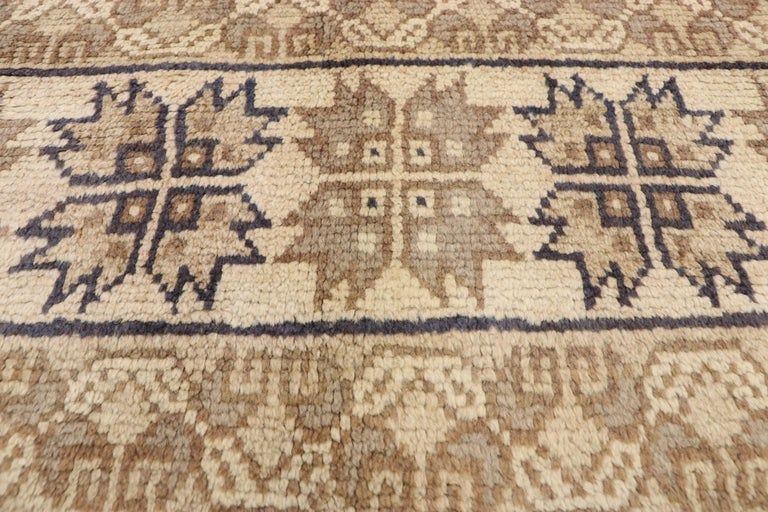 Hand-Knotted Vintage Rabat Moroccan Medallion Rug with Transylvanian Anatolian Style For Sale