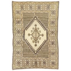Vintage Rabat Moroccan Medallion Rug with Transylvanian Anatolian Style