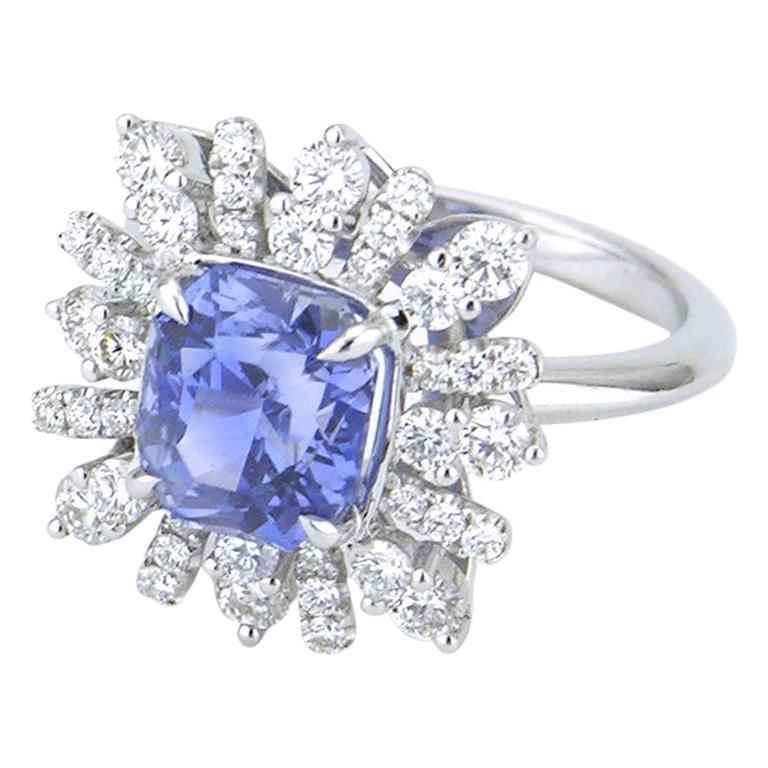 Vintage Radiant Cut Ceylon Blue Sapphire and Diamond Platinum Cluster Ring