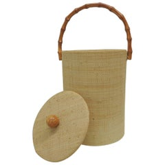 Vintage Raffia Covered Round Ice Bucket with Bamboo Handle