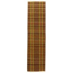 Vintage Rag Brown, Orange and Yellow Striped Handwoven Wool Rug