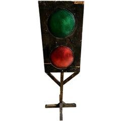 Vintage Railroad Track Folk Art Stoplight