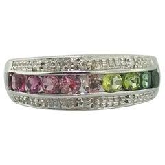 Vintage Rainbow Genuine Tourmaline Ring in 14 Karat White Gold, Estate Piece