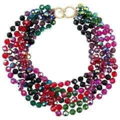 Vintage Rainbow Torsade Statement Collar Attr. KJL 1980s