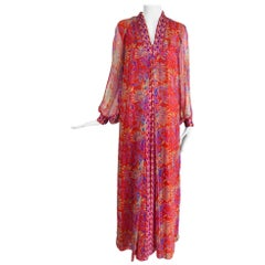 Vintage Raksha Bright Floral Silk Maxi Dress 1970s