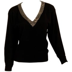Vintage Ralph Lauren Black Cashmere Sweater with a Beaded V Neckline