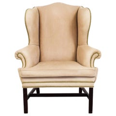 Vintage Ralph Lauren Buff Leather Wingback Armchair, 1970s, Mahogany, Natural