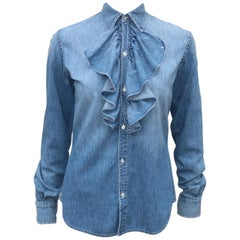 Vintage Ralph Lauren Distressed Denim Ruffled Shirt