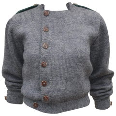 Vintage Ralph Lauren Hand Knitted Gray Wool Sweater Jacket