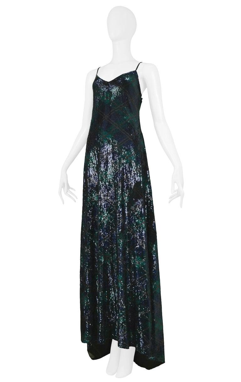 Black Vintage Ralph Lauren Navy & Green Argyle Sequin Gown For Sale