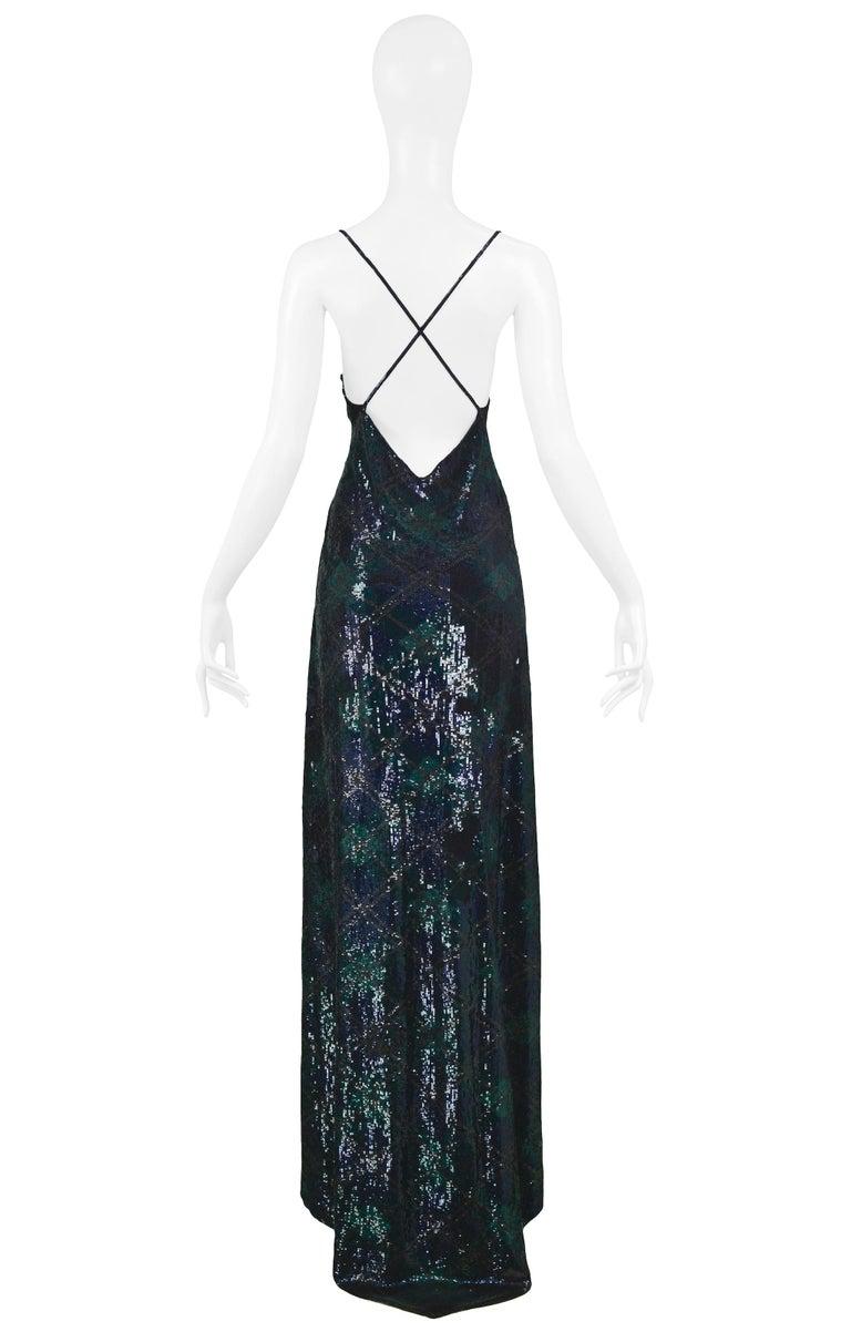 Vintage Ralph Lauren Navy & Green Argyle Sequin Gown In Excellent Condition For Sale In Los Angeles, CA