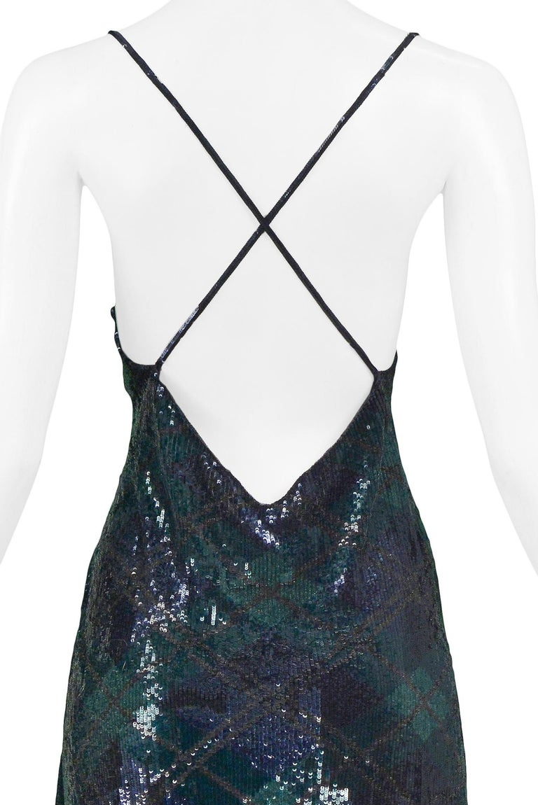 Women's Vintage Ralph Lauren Navy & Green Argyle Sequin Gown For Sale