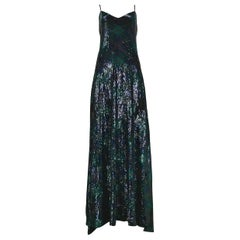 Vintage Ralph Lauren Navy & Green Argyle Sequin Gown