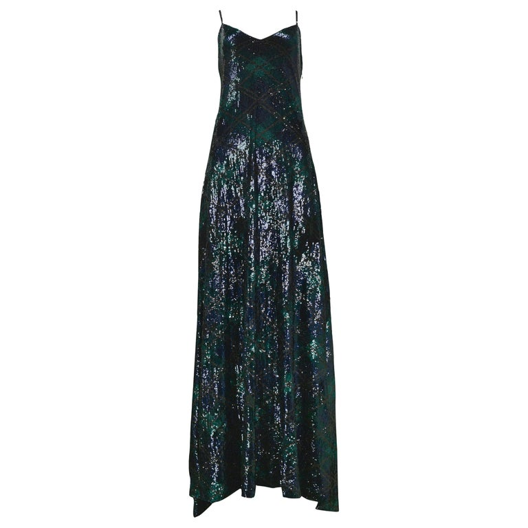 Vintage Ralph Lauren Navy & Green Argyle Sequin Gown For Sale