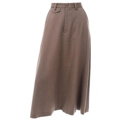 Vintage Ralph Lauren Older Label Brown Twill A-Line Midi Skirt W Trouser Styling