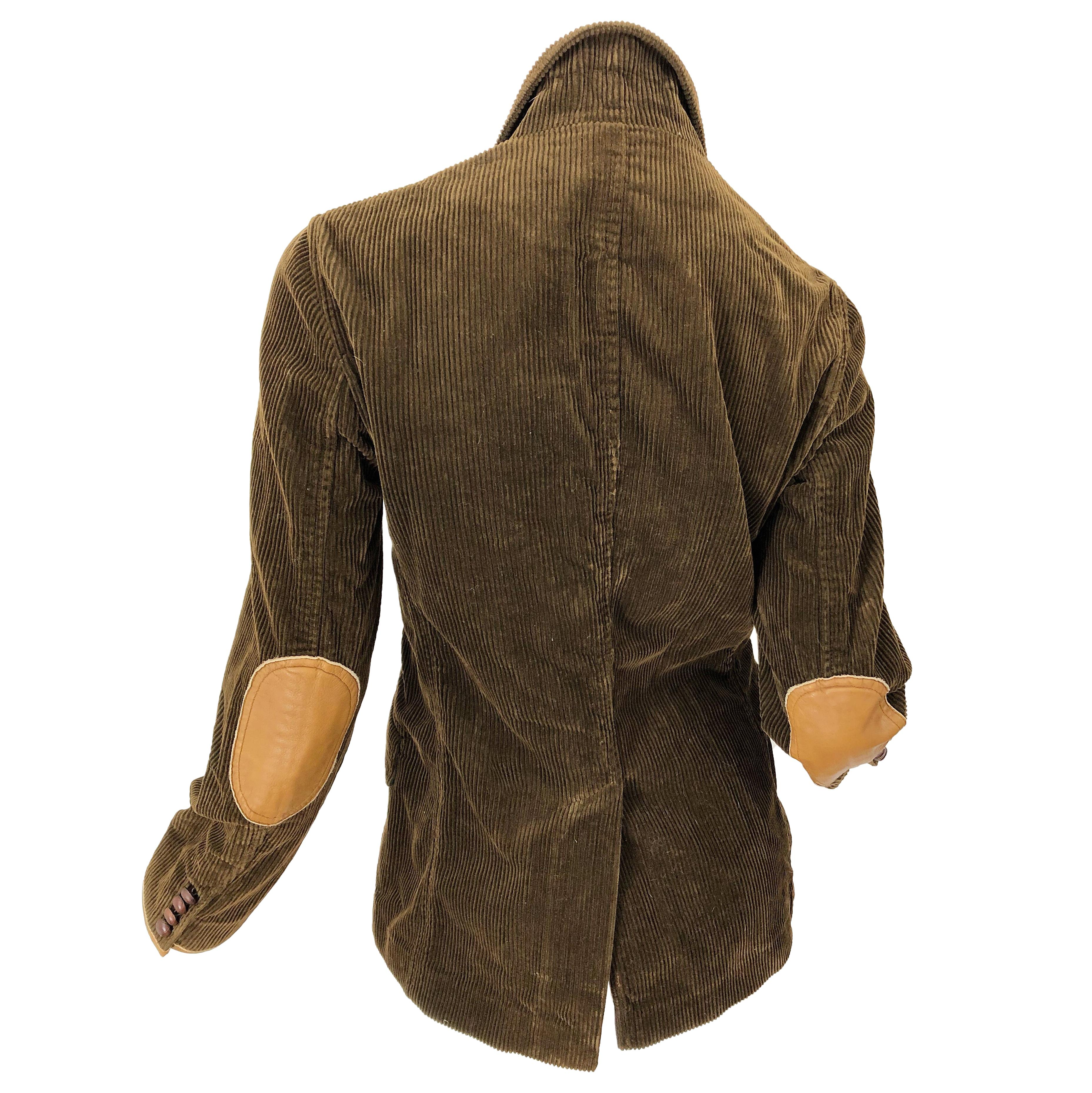 Vintage Ralph Lauren Sz 8 Brown 1990s Corduroy Leather Fitted 90s Jacket Blazer