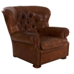 "Vintage Ralph Lauren ""Writer's"" Leather Wingback Armchair"