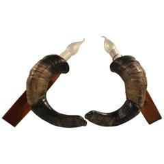 Vintage Ram Horn Sconces, Set of 2