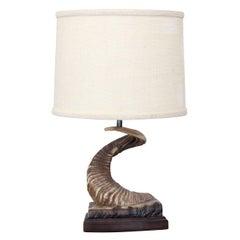 Vintage Ram Horn Table Lamp