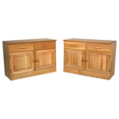 Vintage Ranch Oak Pair of Small Credenzas or Buffet Cabinets, A. Brandt Company
