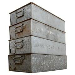 Vintage Rank Xerox Galvanized Boxes, 20th Century