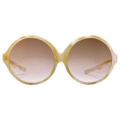 Vintage Rare A.A Sutain Oversized Round Beige Sunglasses 1970's