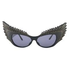 """Vintage Rare Alain Mikli 029101 """" MYSTERY """" Black & Rhinestones Sunglasses 1988"""