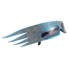 """Vintage Rare Alain Mikli 054631 """" Plume """" Turquoise & Rhinestone Sunglasses 1988"""