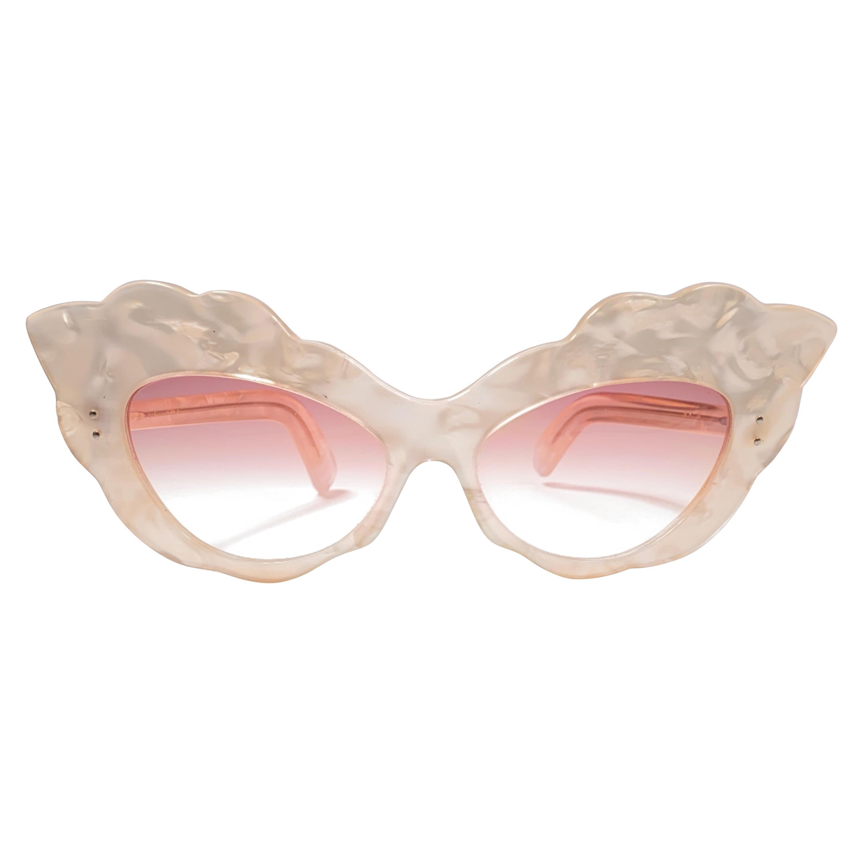 Vintage Rare Alain Mikli AM14 Mother of Pearl Cat Eye France Sunglasses 1988