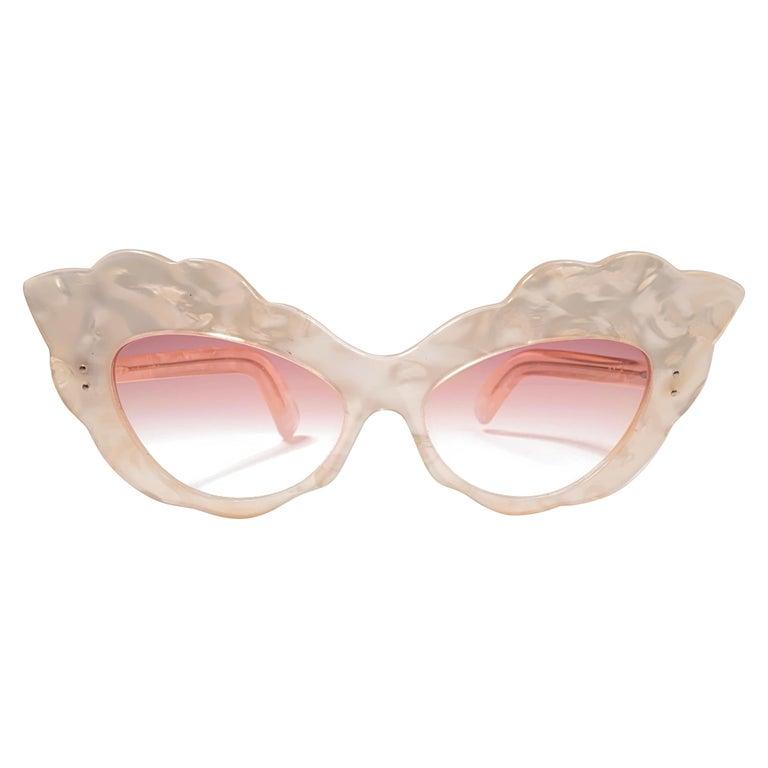 Vintage Rare Alain Mikli AM14 Mother of Pearl Cat Eye France Sunglasses 1988 For Sale