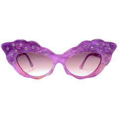 Vintage Rare Alain Mikli AM14S Fuchsia Oversized Cat Eye France Sunglasses 1988