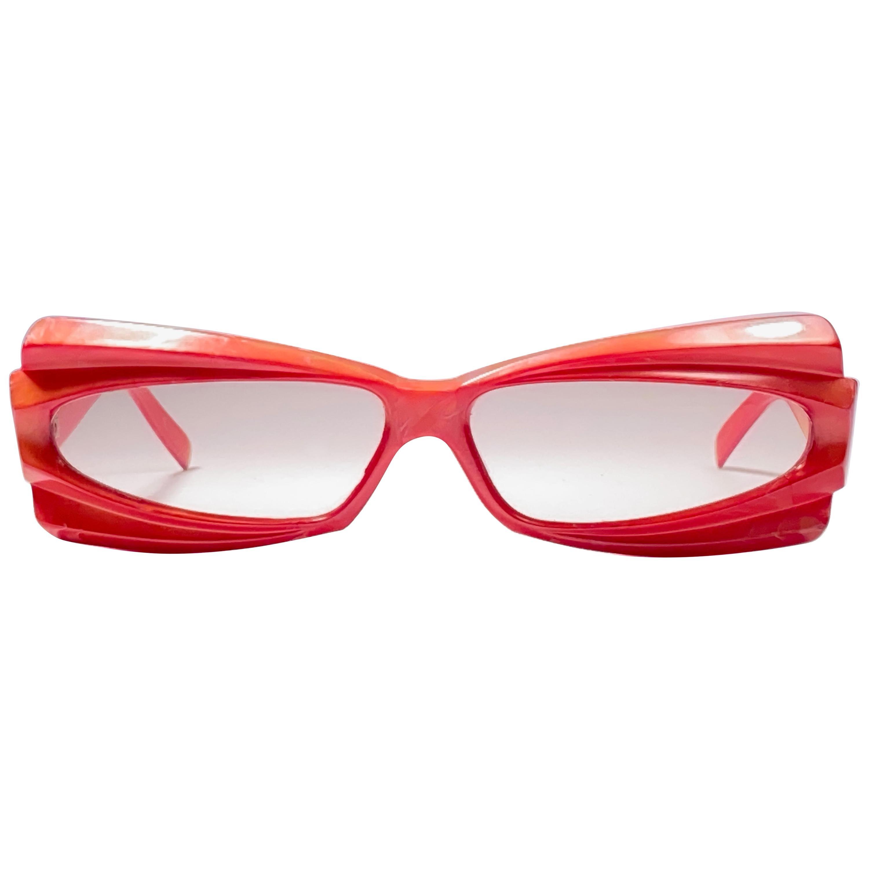 Vintage Rare Alain Mikli AM25 Oversized Red France Sunglasses 1988