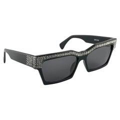 Vintage Rare Alain Mikli AM318101 Smoking Black & Rhinestones Sunglasses 1989