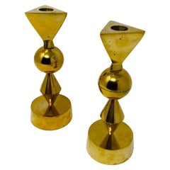 Vintage Rare Brass Candle Holders in the style of Parzinger-Mueck-Cary