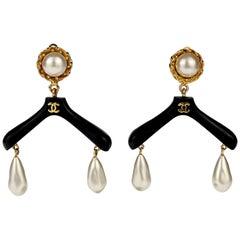 Vintage RARE CHANEL Coat Hanger Pearl Drop Novelty Earrings