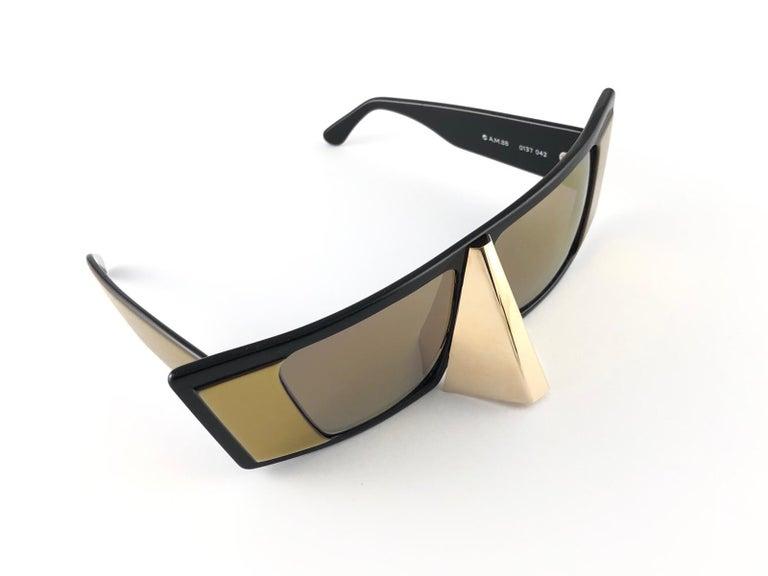 Brown Vintage Rare Collector Alain Mikli AM 88 Nose Guard Avantgarde Sunglasses 1988 For Sale