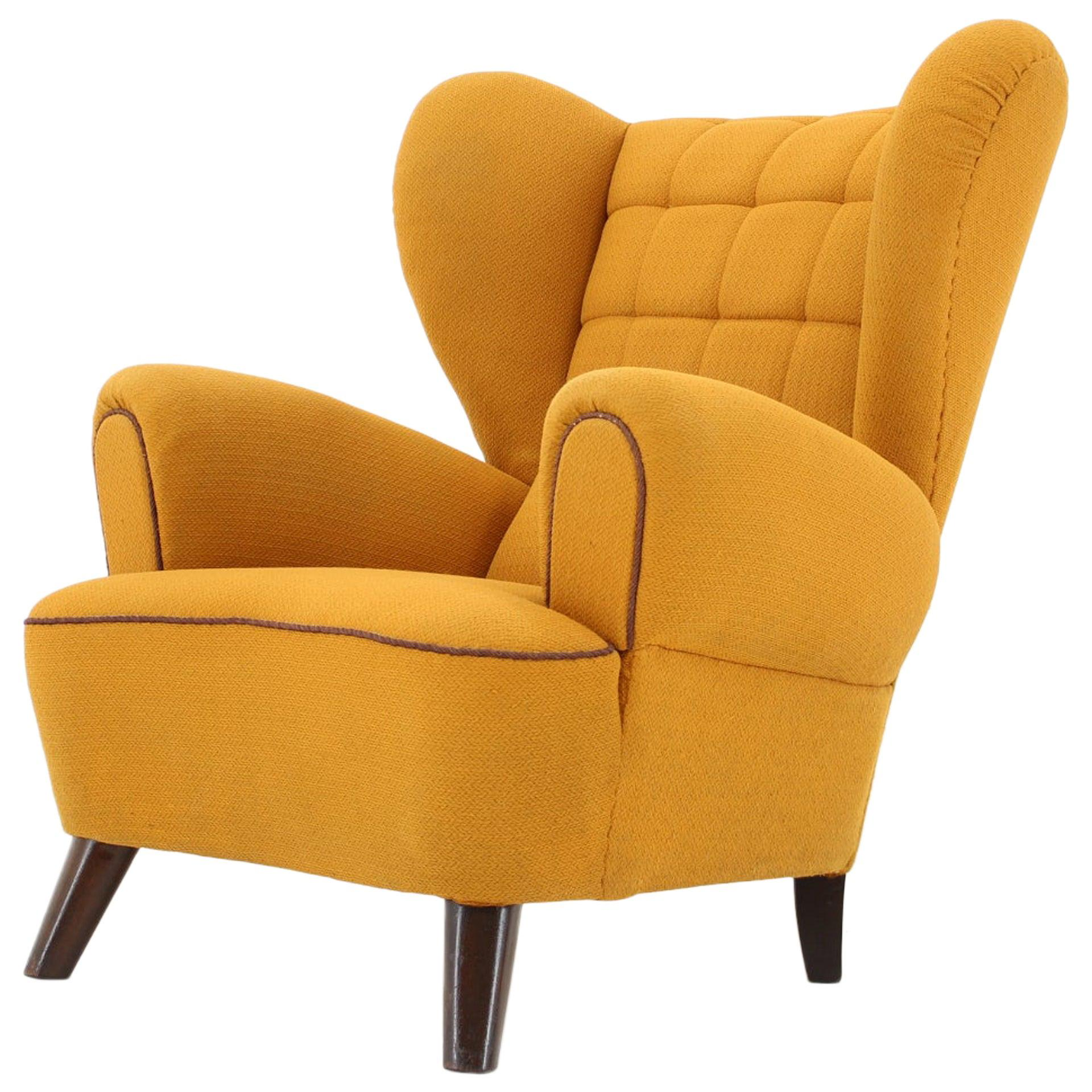 Vintage Rare Design Yellow Big Wing Chair, 1950s