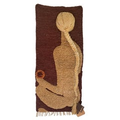 Vintage Rare Don Freedman Woven Textile Art Wall Hanging Tapestry Female Nude