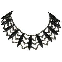 Vintage Rare Hattie Carnegie Black & Rhinestone Collar Necklace