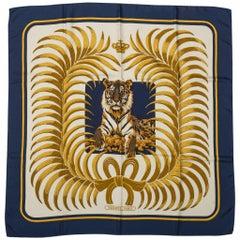 Vintage RARE Hermes Navy Silk Tiger Scarf