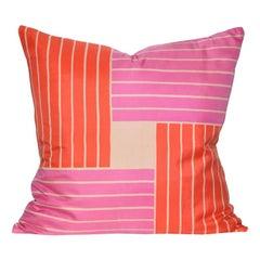 Vintage Rare Jacqmar Pink Red Pop Art Silk Fabric and Irish Linen Cushion Pillow