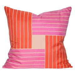Vintage Rare Jacqmar Pink Red Pop Art Silk Fabric and Irish Linen Cushion Pillow