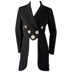 Vintage RARE KARL LAGERFELD Flower Jewelled Dress Coat Tailcoat Jacket