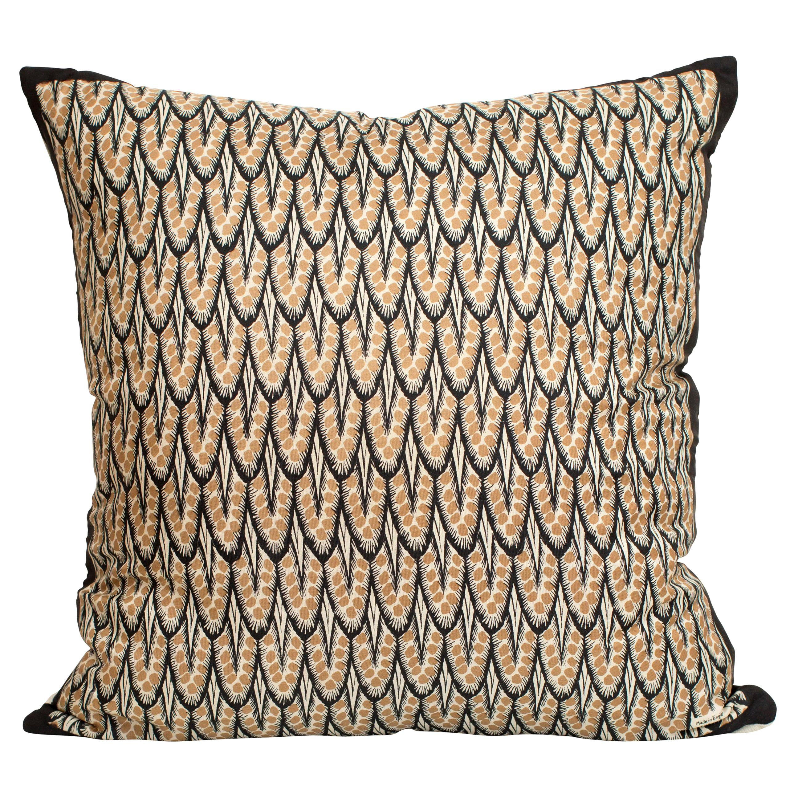 Vintage Rare Liberty of London Art Deco Silk Fabric Irish Linen Cushion Pillow