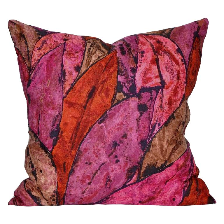 Vintage Rare Liberty of London Purple Pink Silk Scarf Irish Linen Cushion Pillow For Sale