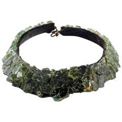 Vintage RARE LILIANE MULLER Crackle Glass Choker Necklace